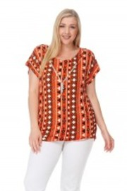 Plus Size Aztec Pattern Summer Top