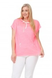 Plus Size Distressed Neon Terry Summer Hooded Top