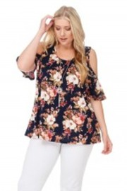 Plus Size Cute Floral Open Shoulder Top