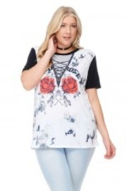 Plus Size Venezia Sublimation Rose Graphic Tee