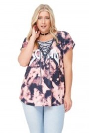 Plus Size Squad Tie Dye Casual Top