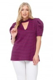 Plus Size Puff Sleeved Striped Casual Top