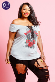 Plus Size Tie Up Rocker Off Shoulder Tee