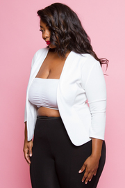 Plus Size 3/4 Sleeved Open Solid Blazer