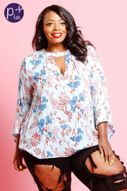 Plus Size Long Sleeved Floral Blouse