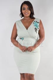 Plus Size Surplice Rose Patch Bodycon Dress