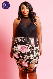 Plus Size Floral Printed Pencil Skirt