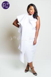 Plus Size One Shouder Cleopatra Cascade Cape Tube Dress