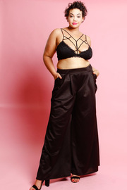 Plus Size Silky Palazzo Flared Pants