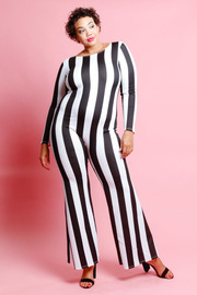 Plus Size Long Sleeved Striped Jumpsuit