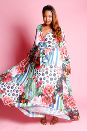 Plus Size Paradise Floral Chiffon Maxi Long Sleeved Dress