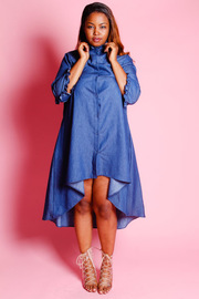 Plus Size Casual Hi Lo Denim Button 3/4 Sleeved Dress