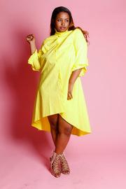 Plus Size 3/4 Sleeved Hi Lo Skater High Neck Dress