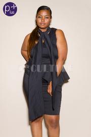 Plus Size Pretty In Bow Tie Peplum Tube Dress