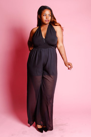 Plus Size Criss Cross Sheer Palazzo Halter Jumpsuit