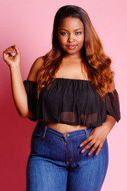 Plus Size Flounce All Mesh Crop Top