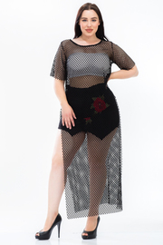 Plus Size See Through Sexy Fish Net Top