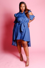 Plus Size Pretty In Denim Ruffled Open Shoulder Flared Dress