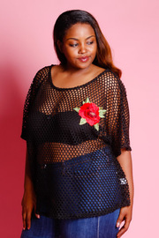 Plus Size Floral Patch Fish Net Loose Top