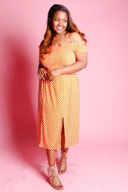 Plus Size Off Shoulder Smoked Polka Dot Midi Dress