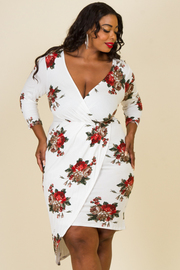 Plus Size Overlap Floral 3/4 Sleeved Tube Dress