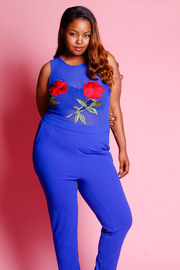 Plus Size Roses Patch All Mesh Jumpsuit