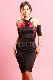 Open Shoulder Roses Patch Mini Dress