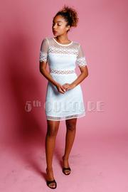 Casual Crochet Trim Solid Dress
