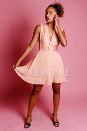 V-neck Laced & Solid Flared Dress