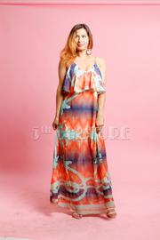 Printed Summer Maxi Flounce Dress