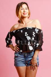 Off Shoulder Flora Stitch Top