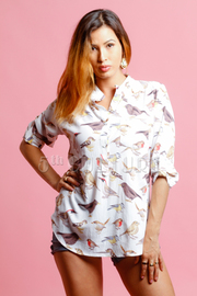Birds Printed 3/4 Sleeved Top