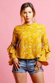 Ruffled Sleeved Floral Blouse