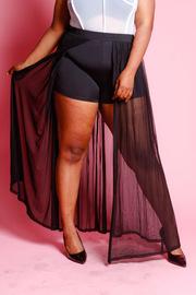 Plus Size Shorts Lining Mesh Maxi Skirt