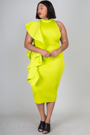 Plus Size Cascade Side One Strap Casual Midi Dress Ruffle Dress