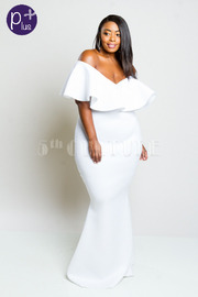 Plus Size Stylish Ruffled Neck Mermaid Maxi Dress