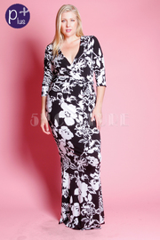 Plus Size Surplice Floral 3/4 Sleeved Maxi Dress