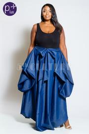 Plus Size Casual In Denim Tie Waist Maxi Skirt