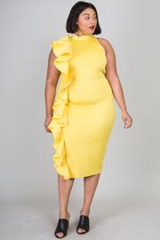 Plus Size Pretty Cascading Trim Bodycon Midi Dress