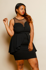 Plus Size Cute & Classy Peplum Tail Back Net Trim Tube Dress