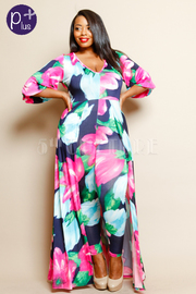 Plus Size Spring Stylish Floral Maxi Tail V-Neck Jumpsuit