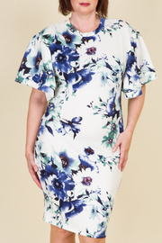 Plus Size Cute Flared Short Sleeved Floral Tube Midi Dress