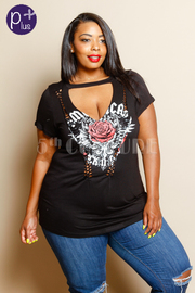 Plus Size Classic Rock Rose Graphic Tee