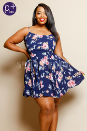 Plus Size Spaghetti Strap Flared Floral Dress