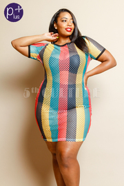 Plus Size Multi-Colored Striped Fish Net Mini Dress