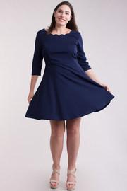 Plus Size Scalloped Neck Flared Dress