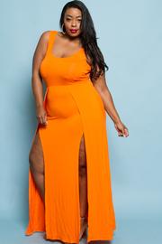 Plus Size Double Slit Jersey Maxi Casual Dress
