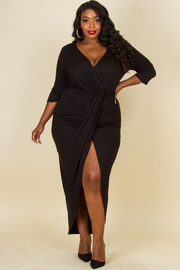 Plus Size Classy Shirred Maxi 3/4 Sleeved Dress