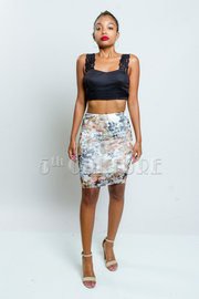 Floral Lacey Mini Skirt