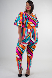 Plus Size Colorful Abstract Flutter Sleeved Jumpsuit